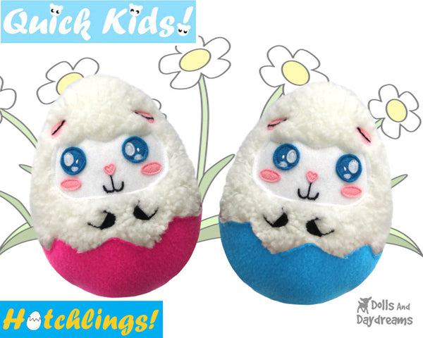 Quick Kids Lamb Hatchling Easter Egg Softie Sewing Pattern Plush Toy by Dolls And Daydreams