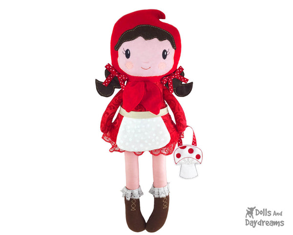 Machine Embroidery In The Hoop Little Red Riding Hood Doll Pattern cloth fairy tale fairytale ITH doll diy by dolls and daydreams