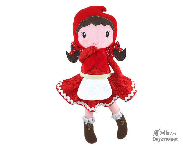 Machine Embroidery In The Hoop Little Red Riding Hood Doll Pattern cloth fairy tale fairytale doll diy by dolls and daydreams