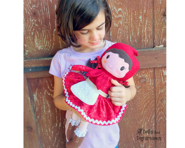 Machine Embroidery In The Hoop Little Red Riding Hood Doll Pattern cloth fairy tale fairytale doll diy by dolls and daydreams kids storybook toy