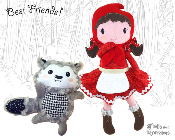 Machine Embroidery In The Hoop Little Red Riding Hood Doll Pattern cloth fairy tale fairytale doll diy by dolls and daydreams and wolf plush