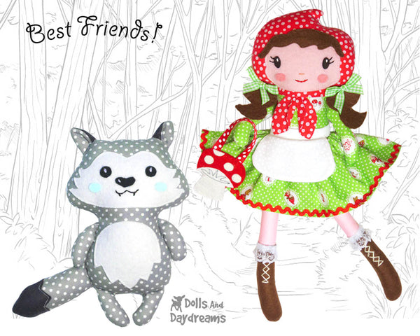 Fairy Tale Little Red Riding Hood Cloth Doll PDF Sewing Pattern and wolf plush by Dolls And Daydreams  DIY fairy tale fairytale