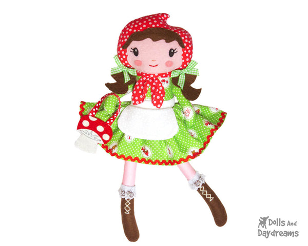 Little Red Riding Hood Cloth Doll PDF Sewing Pattern by Dolls And Daydreams  DIY fairy tale fairytale woodland fabric toy