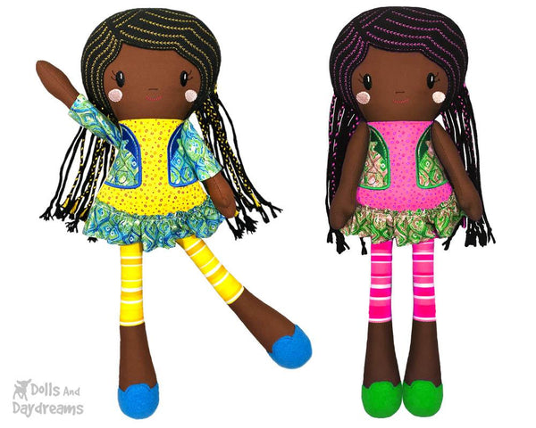 Machine Embroidery Doll Pattern African american black girl natural hair In the Hoop by dolls and daydreams