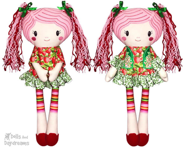 Machine Embroidery Doll Pattern to make a Miss Lucy Leggings button joint doll ITH by dolls and daydreams