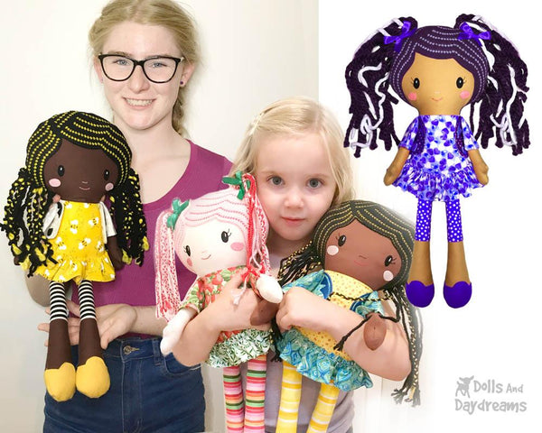 Lucy Leggings a PDF Doll Sewing Pattern African american black girl natural hair diy cloth dolls by dolls and daydreams