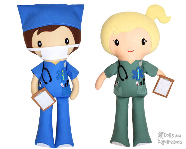 Medic Nurse Doctor Sewing pattern PDF Medical Health Care Worker doll toy by dolls and daydreams DIY scrubs