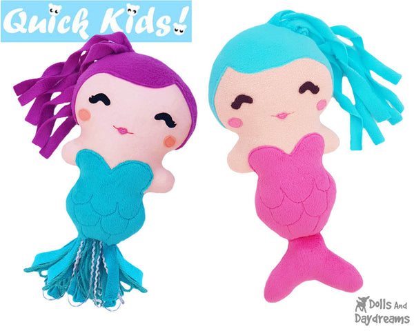 Quick Kids Mermaid Doll Sewing Pattern by Dolls And Daydreams