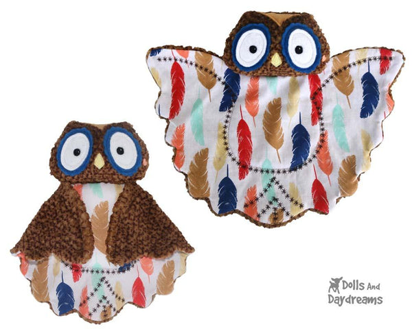 Owl Baby Blanket Lovie Sewing Pattern by Dolls And Daydreams plush