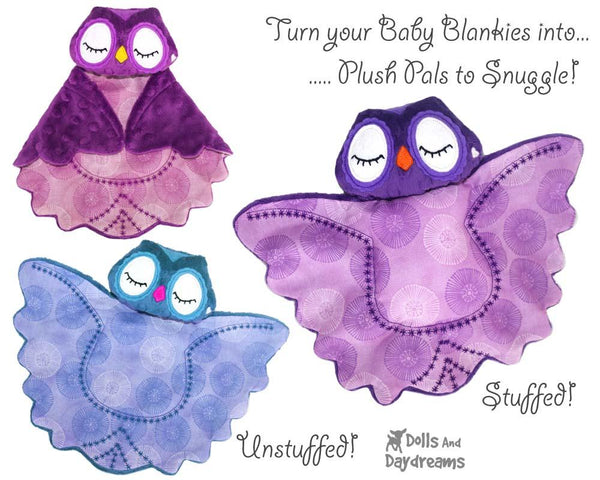 Owl Baby Blanket Lovies Sewing Pattern by Dolls And Daydreams stuffed toy diy plush
