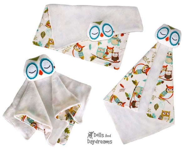 Owl Baby Blanket Lovie Sewing Pattern by Dolls And Daydreams diy snuggle blankie