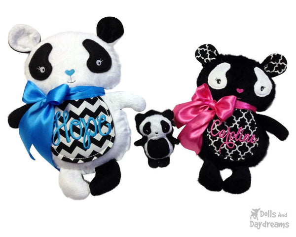 Embroidery Machine Panda ITH Pattern - Dolls And Daydreams - 1