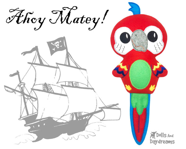 Pirate Parrot in the hoop machine embroidery Pattern by Dolls And Daydreams Budgie Bird DIY Soft Toy plushie Handmade