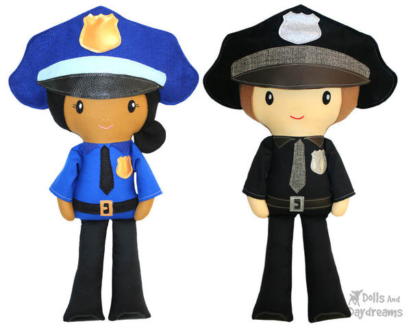 Police officer cop Cloth Doll Sewing Pattern Cloth Doll first responder detective diy toy by dolls and daydreams