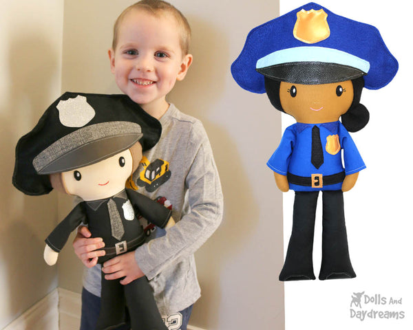 Police officer cop Cloth Doll Sewing Pattern Cloth Doll first responder detective diy sewn make it yourself plush kids toy by dolls and daydreams