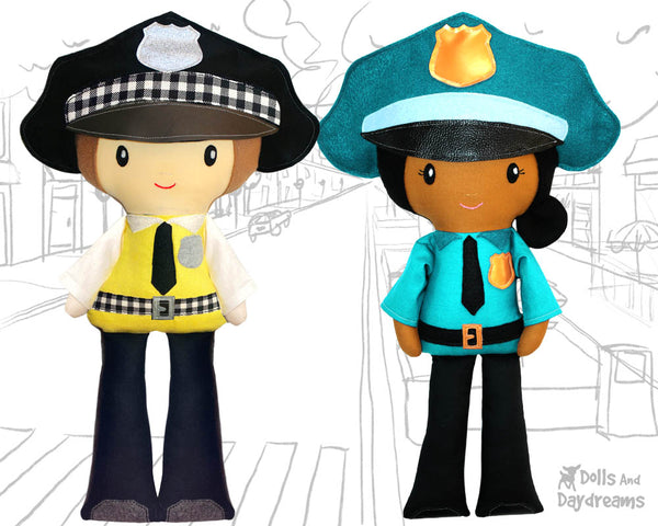 Police officer cop Cloth Doll Sewing Pattern Cloth Doll first responder detective diy sewn make it yourself plush bobby toy by dolls and daydreams
