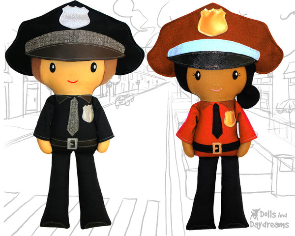 Police officer cop Cloth Doll Sewing Pattern Cloth Doll first responder detective diy by dolls and daydreams