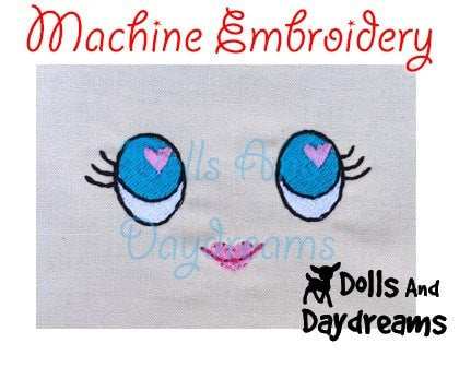 Machine Embroidery Poppy Poppet Doll Face Pattern - Dolls And Daydreams - 4