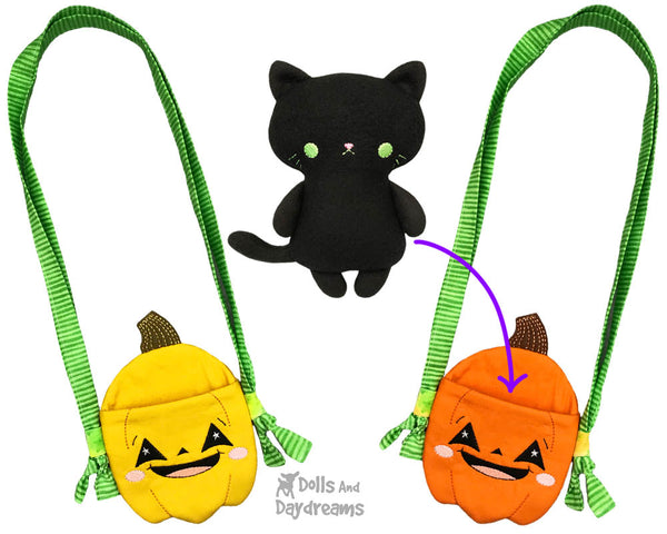 In The Hoop Machine Embroidery Halloween Pumpkin Tote jack o'lantern Bag Pattern by Dolls And Daydreams ITH DIY trick or treat kawaii cute sack