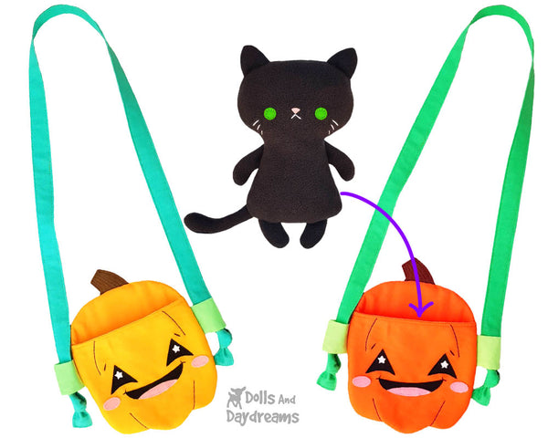 Pumpkin Tote jack o'lantern bag Sewing Pattern by Dolls And Daydreams DIY trick or treat halloween sack