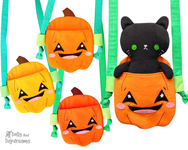 Pumpkin Tote jack o'lantern bag Sewing Pattern by Dolls And Daydreams DIY trick or treat kawaii cute Halloween bag