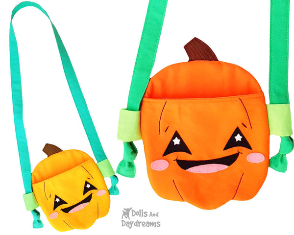 Pumpkin Tote jack o'lantern bag Sewing Pattern by Dolls And Daydreams DIY trick or treat halloween bag