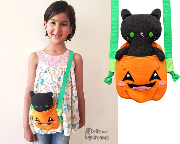 Pumpkin Tote jack-o'lantern bag Sewing Pattern by Dolls And Daydreams DIY trick or treat kawaii cute Halloween bag