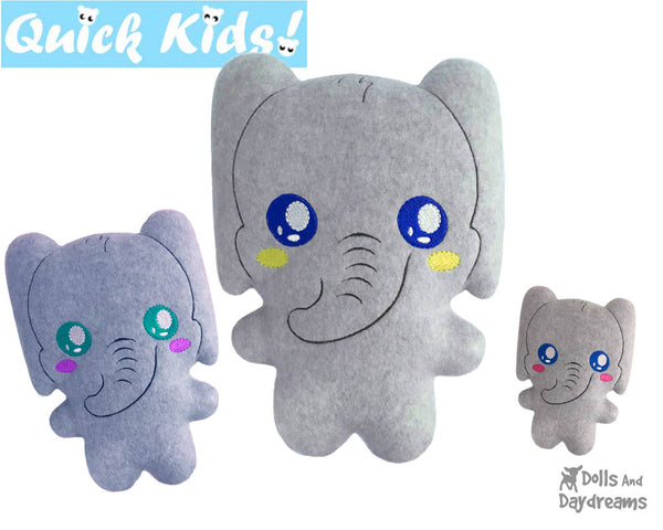 ITH Quick Kids Elephant Pattern Teach your Kids Machine Embroidery by Dolls And Daydreams