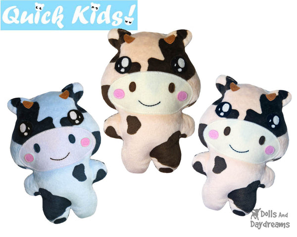 Quick Kids Cow Sewing Pattern Teach your Kids to Sew by Dolls And Daydreams