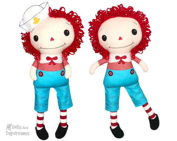 Raggedy Andy Cloth doll Pattern machine embroidery doll by dolls and daydreams
