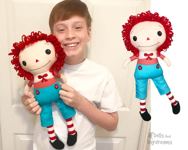 Raggedy Andy Cloth boy doll Pattern machine embroidery doll by dolls and daydreams