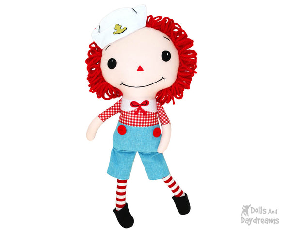 Raggedy Andy cloth boy doll Sewing Pattern by dolls and daydreams diy make your own