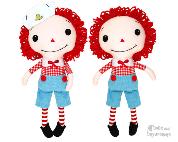 Raggedy Andy cloth boy doll Sewing Pattern by dolls and daydreams diy
