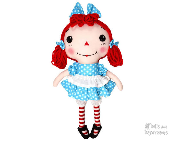 Raggedy Ann cloth doll Sewing Pattern by dolls and daydreams diy make your own