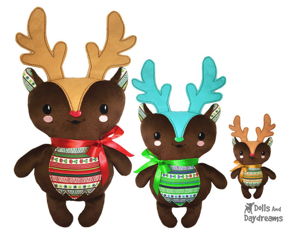 Embroidery Machine Reindeer Soft toy Pattern - DIY In The Hoop Christmas plushie Dolls And Daydreams - 1