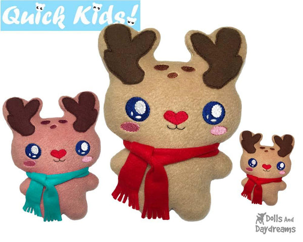 Quick Kids Christmas Reindeer Machine Embroidery Pattern by Dolls And Daydreams kids xmas diy plush soft toy