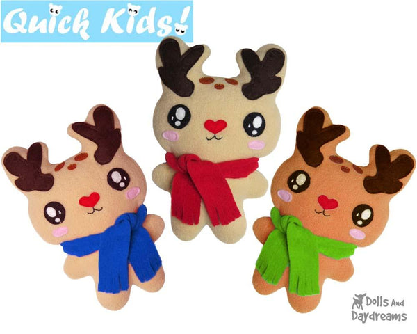 Quick Kids Christmas Reindeer Sewing Pattern by Dolls And Daydreams kids xmas diy plush soft toy