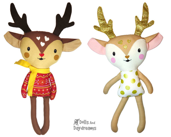 Cute Caribou Reindeer Soft Toy Plush Sewing Pattern - Dolls And Daydreams