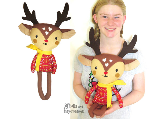 Cute Caribou Reindeer Soft Toy Plush Sewing Pattern - DIY Christmas doll Dolls And Daydreams
