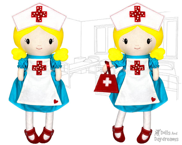 ITH Retro Nurse Cloth doll Pattern machine embroidery in the hoop DIY dolly make yourself by dolls and daydreams
