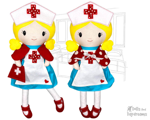 ITH Retro Nurse Cloth doll Pattern machine embroidery in the hoop diy makes handmade by dolls and daydreams