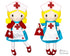 ITH Retro Nurse Cloth doll Pattern machine embroidery doll by dolls and daydreams