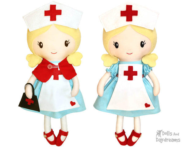 Retro Nurse cloth doll Sewing Pattern by dolls and daydreams diy make your own health care worker