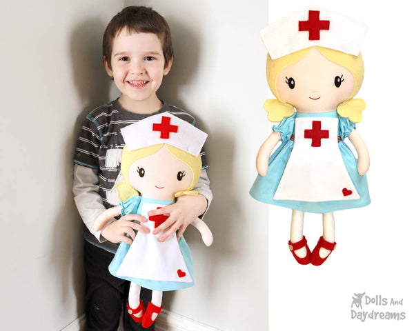 Retro Nurse cloth doll Sewing Pattern by dolls and daydreams diy pretty health care