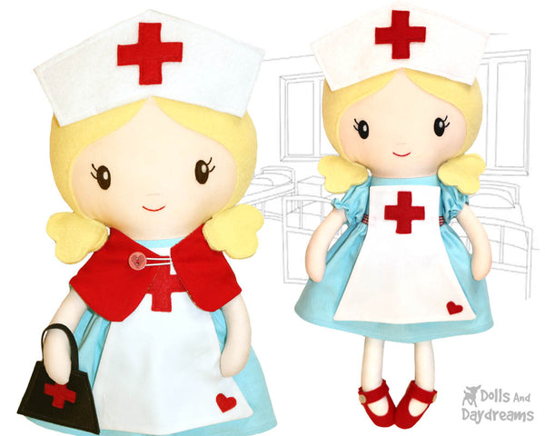 Retro Nurse cloth doll Sewing Pattern by dolls and daydreams diy plush toy pretty cute stitching