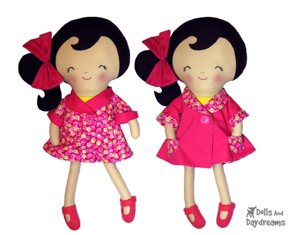 18 inch Reversible Retro Swing Doll Coat Sewing Pattern - Dolls And Daydreams - 1