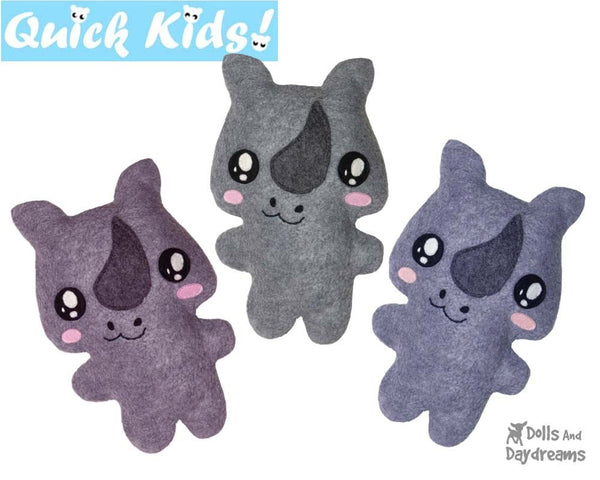 Quick Kids Rhino Sewing Pattern by Dolls And Daydreams