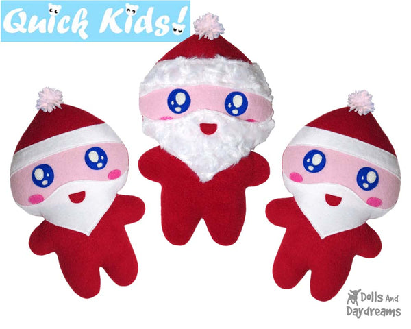 Quick Kids Santa Easy Sewing Pattern by Dolls And Daydreams teach your kids to sew