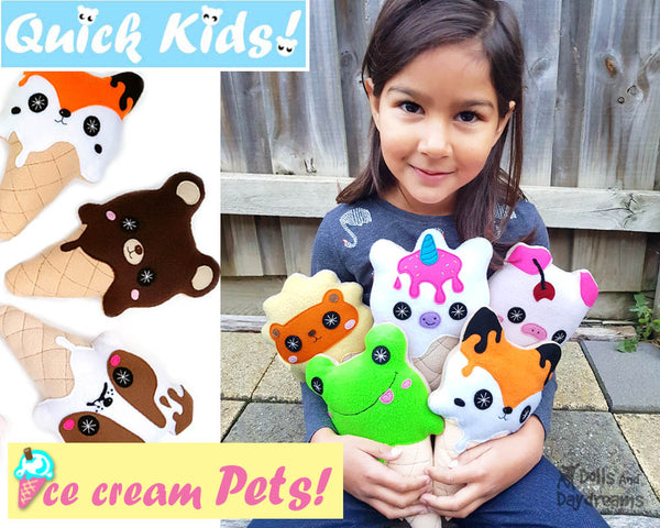 Kawaii cute Ice Cream Sewing Pattern PDF  plushie soft toy diy by Dolls and Daydreams