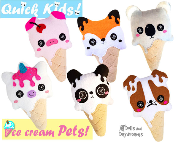 Quick Kids Ice Cream Pets Sewing Pattern Pack 1 plush diy pdf kawaii soft toys